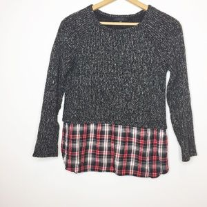Sanctuary Faux layered sweater plaid top black red